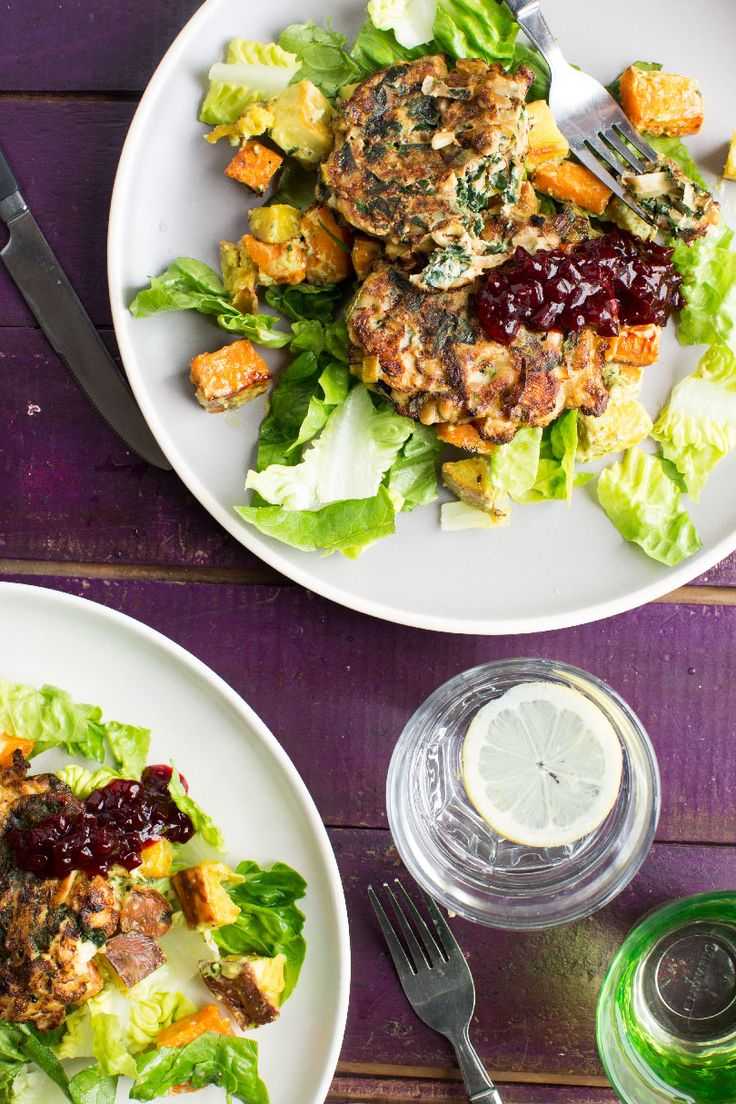 Leek, Spinach and Feta Fritters with Roast Kumara Salad