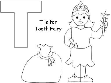 T Tooth Fairy Coloring Page