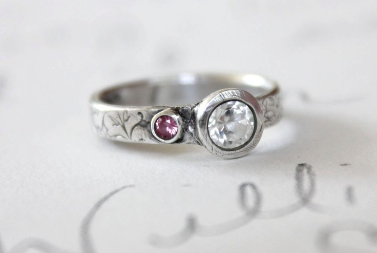 white sapphire engagement ring recycled silver white and