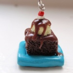 Polymer clay brownie sundae