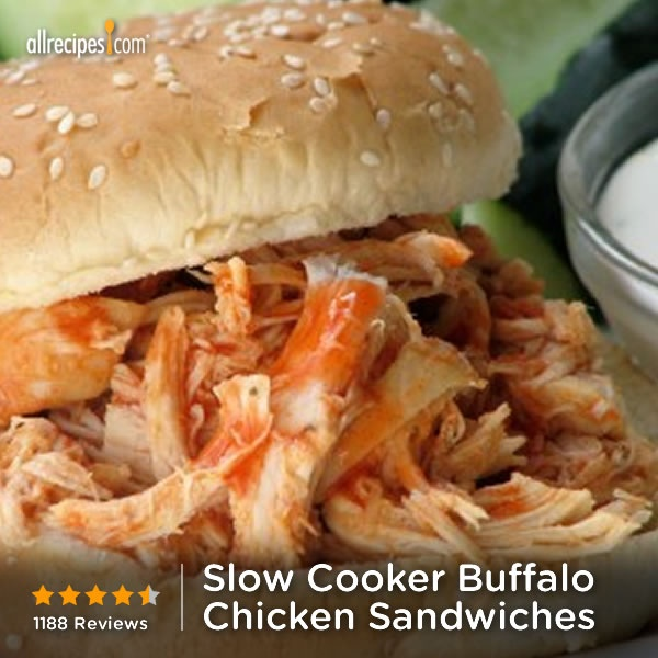 "Slow Cooker Buffalo Chicken Sandwiches | ""This is a spicy, hearty ..."