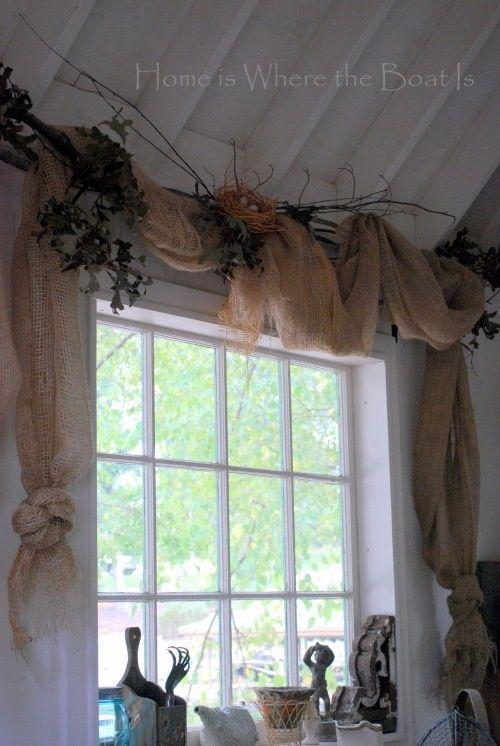 Rustic Burlap Window Treatments