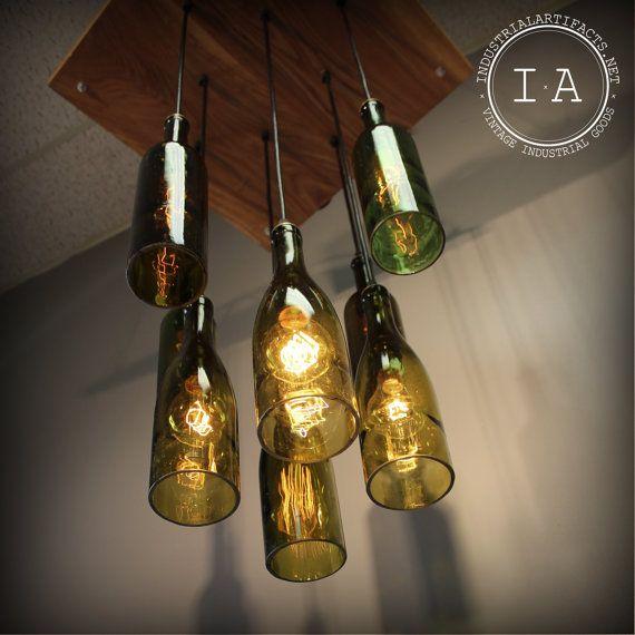 Repurposed wine bottle pendant chandelier wood frame hanging lamp - Wine bottles chandelier ...