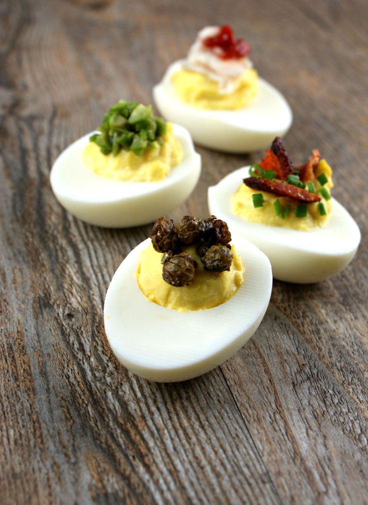 Deviled Eggs with Fried Capers, Applewood Smoked Bacon and Chives ...