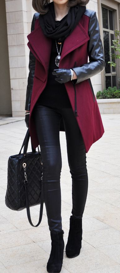 Burgundy coat + black.
