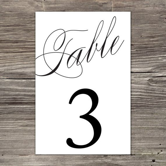 Printable Calligraphy Table Numbers