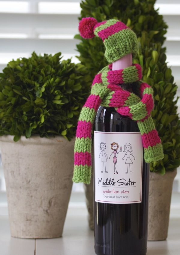 a cup of mascarpone: fashionable wine garb - a knitted hat & scarf