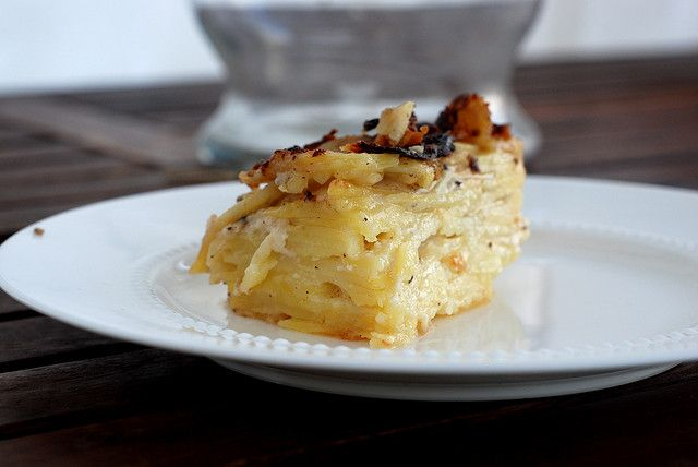 Yukon Gold gratin with goat cheese and garlic. Yes, sir!