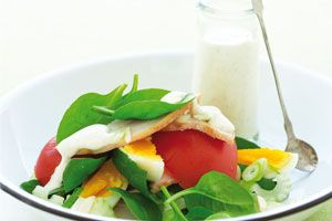 Healthy #salad made of smoked chicken with spinach and almonds; # ...