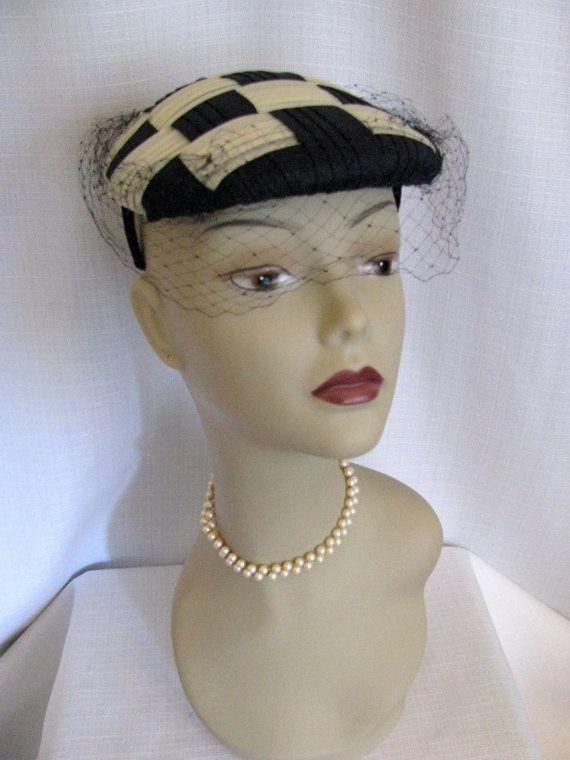 Vintage 1950s  60s Daytons Hat  Checked Cream by jwvintagecloset, $46.00