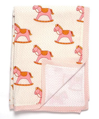 Another great find on #zulily! 35'' x 45'' Pink Rocking Horse Blanket #zulilyfinds