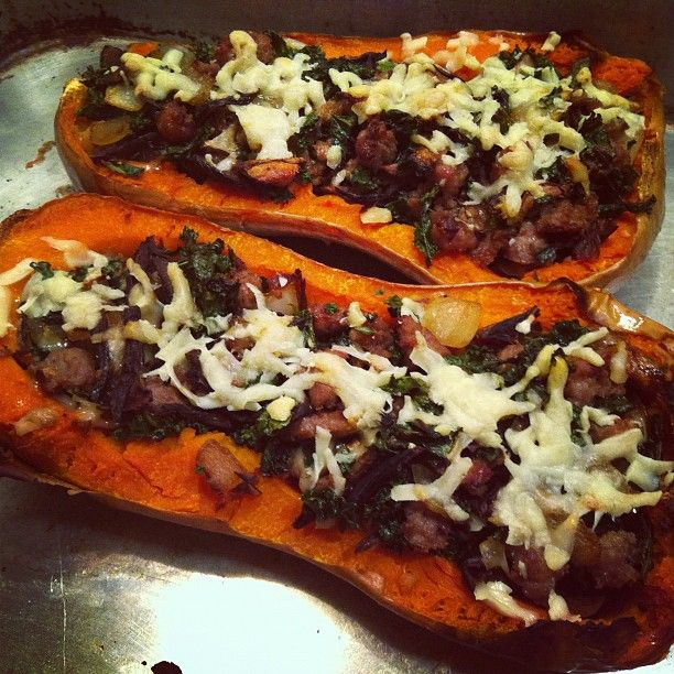 butternut squash stuffed with sweet Italian sausage, porcini mushrooms ...