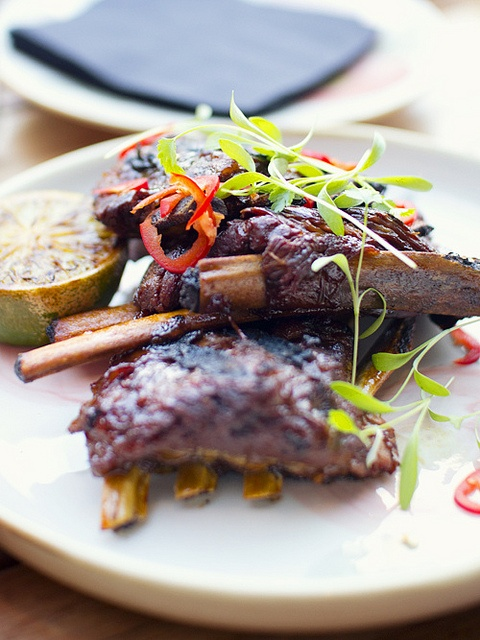Crispy lamb ribs with honey, chilli, coriander and lime