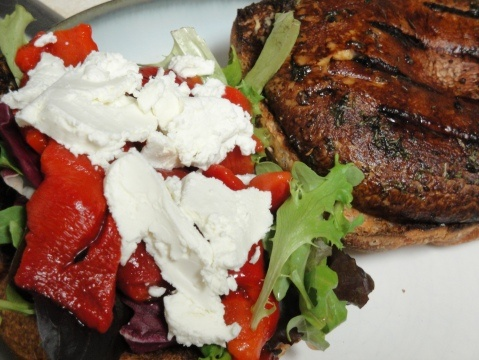 Balsamic Grilled Portobello Sandwiches w/ Goat Cheese & Red Peppers ...