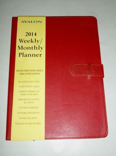 ... RED FAUX LEATHER JUMBO 2014 WEEKLY MONTHLY PLANNER DAILY ORGANIZER