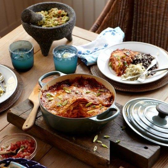 Layered Chicken Three-Cheese Enchilada | Savory Recipes | Pinterest