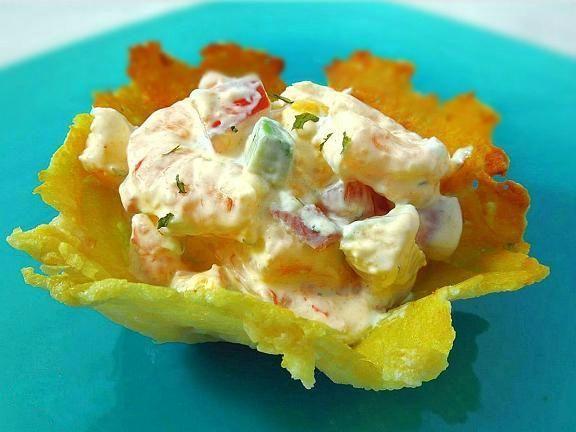 Shrimp & Mango Salad in Crispy Parmesan Bowls | Recipe