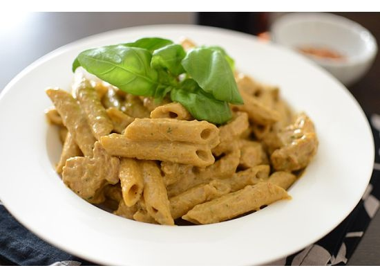 Basil Pesto On Penne Recipe — Dishmaps