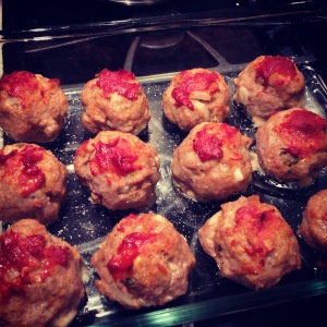 baked turkey & chicken meatballs with spaghetti squash and homemade ...