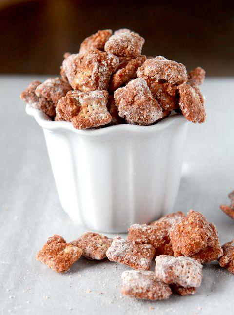 Churro Chex Mix - Cinnamon chips, Rice Chex, cinnamon, powdered sugar - yum!