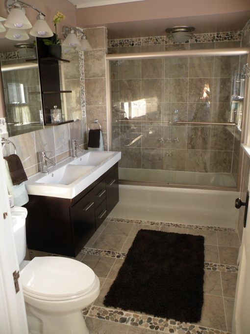 River rock tile vanity bathroom remodel ideas pinterest for Small old bathroom ideas