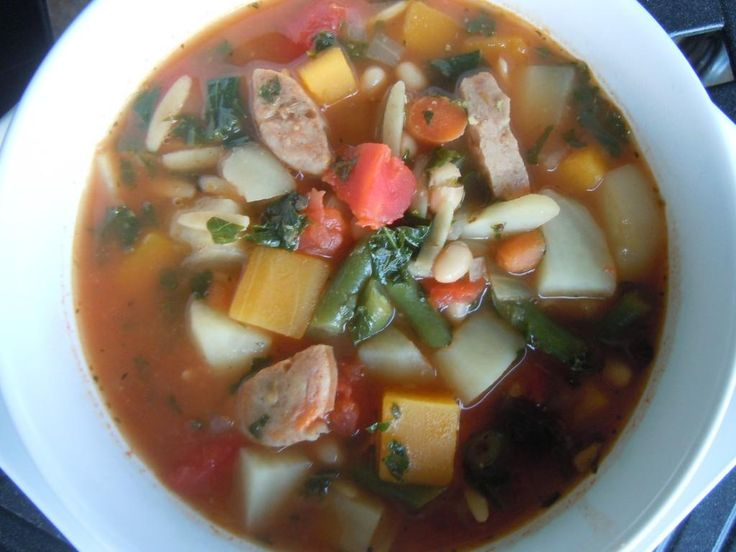 Italian Sausage Bean Soup with Kale except use crumbled turkey sausage ...