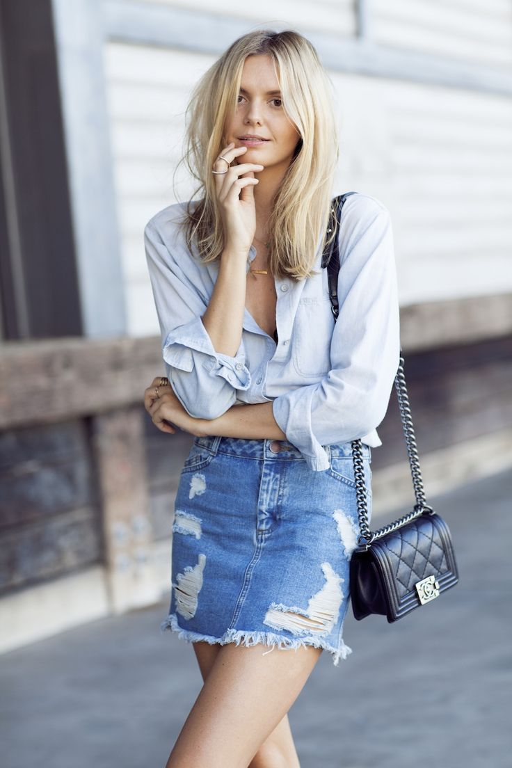 denim skirt outfit ideas - with light chambray shirt and Chanel bag