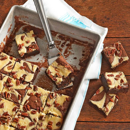 cream cheese mixture makes these Cream Cheese Marbled Brownies ...