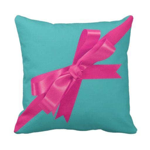 Teal & Hot Pink Ribbon Throw Pillow