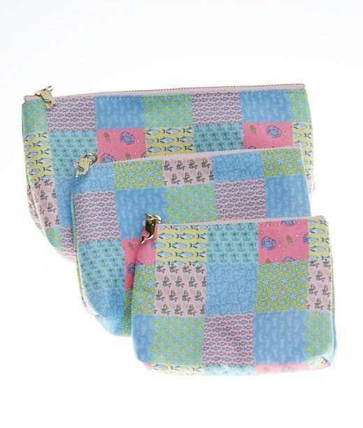Sea Patchwork Makeup Bag