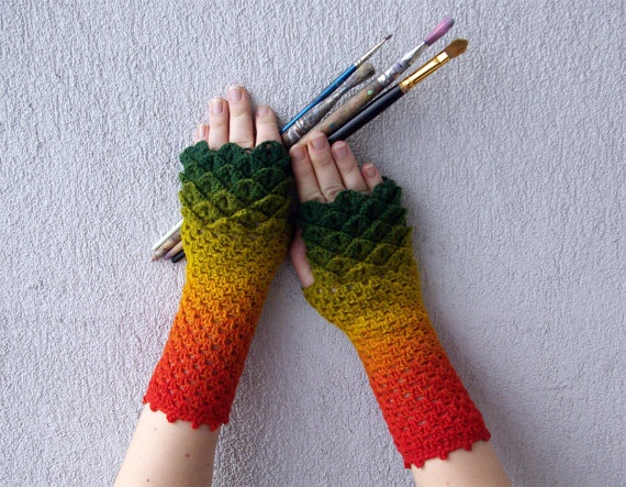 Fingerless gloves Crochet mittens cute arm warmers spring ...