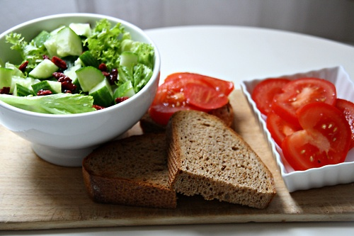 bread with tomatoes, olive oil and sea salt + salad with cucumbers ...
