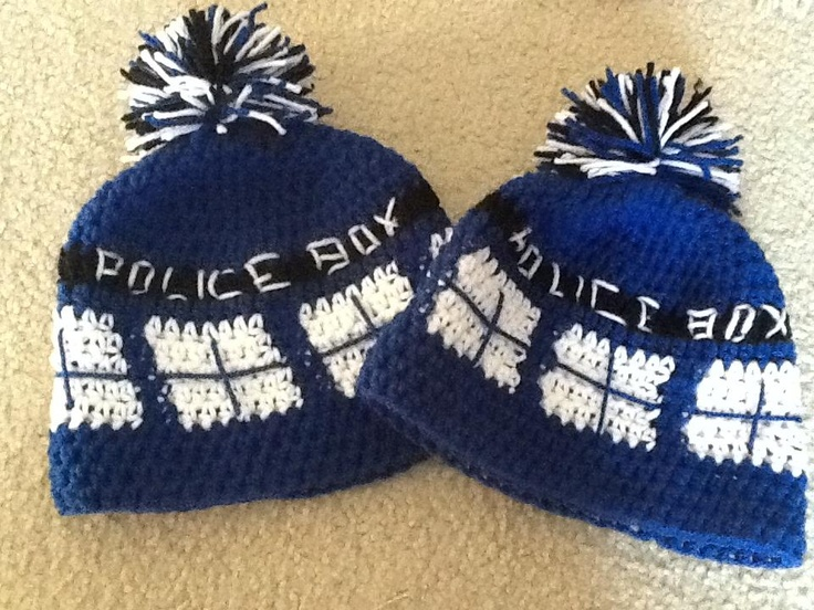 Free Crochet Pattern Tardis Hat : ?Doctor Who : Crochet a TARDIS hat while waiting for the ...