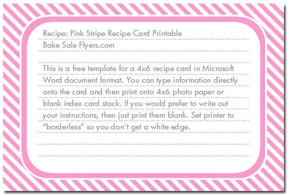recipe card template microsoft word