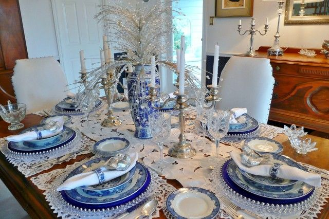 Table Setting Blue And White Pinterest