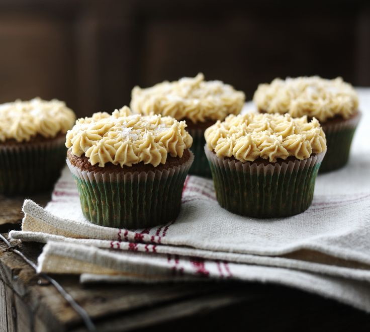 Gingerbread cupcakes with salted caramel icing, because grownups have ...