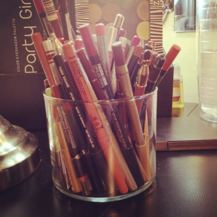 Repurposed Bath and Body Works candle jar! Makes a great Lipliner Holder! :)
