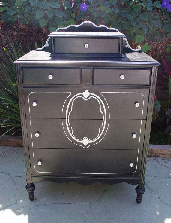 Victorian antique dresser painted in custom black chalk - Black chalk paint dresser ...