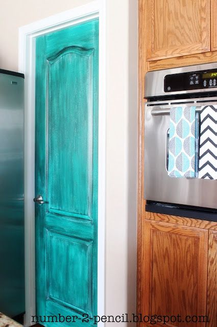 Turquoise Painted Pantry Door