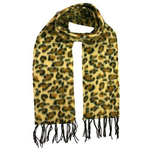 Leopard Print Ultra Soft Long Fleece Scarf W/ Fringe