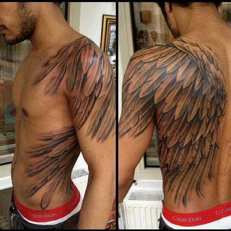 Тату с крыльями ангела на спине мужские