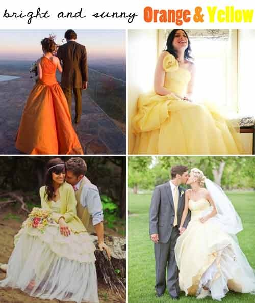 Orange yellow wedding dress