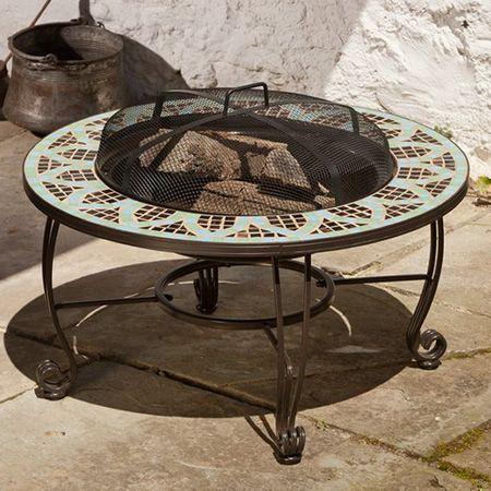 Le Mans Mosaic Wood Burning Fire Pit Table