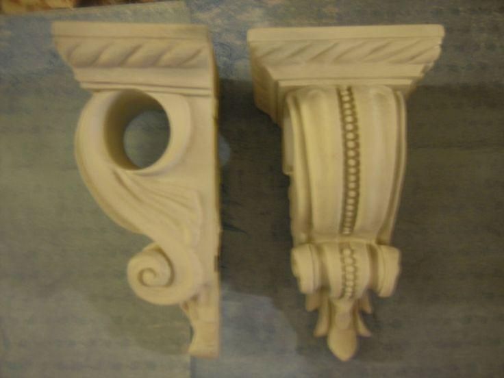 Pair wall shelves shelf curtain rod vintage style cottage shabby fren - Shabby chic curtain poles ...