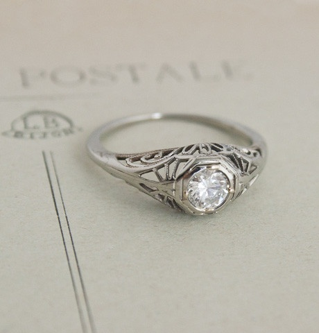 Fluid Filigree Ring with .40 Carat Diamond. $1,950