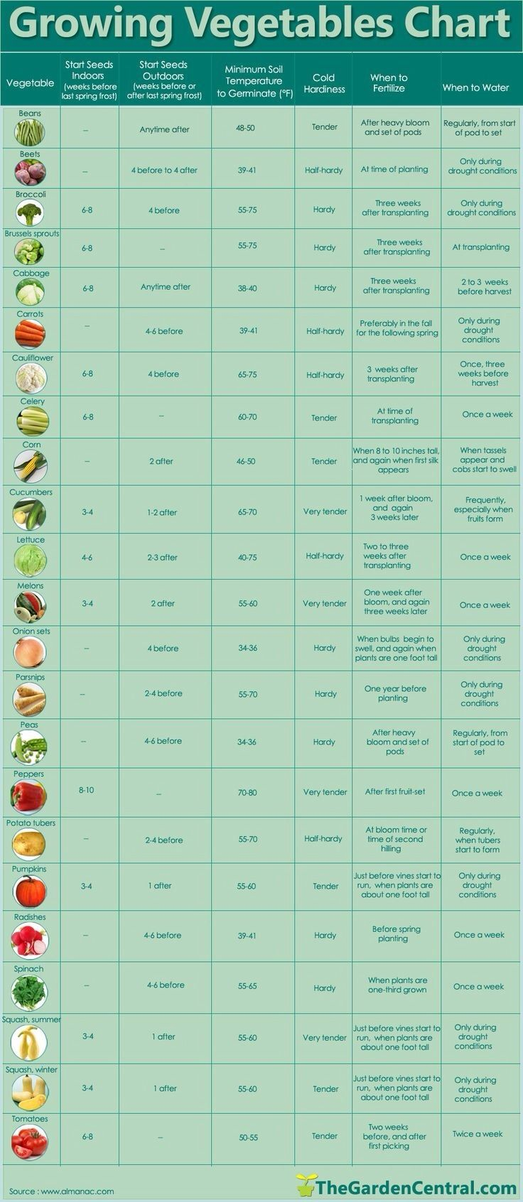 Growing Vegetables Chart Green Thumb Pinterest 400 x 300