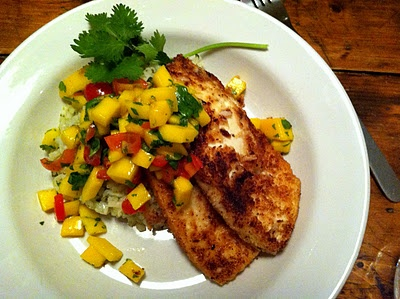 Coconut crusted tofu with mango salsa and green rice (you could do the ...