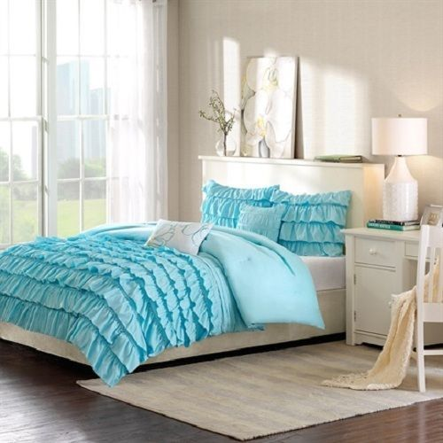 Modern ruffled baby blue girls teen 3pc comforter set full queen twin