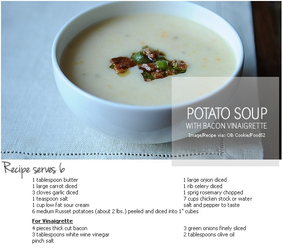 potato soup with bacon creamy potato soup with bacon vinaigrette ...