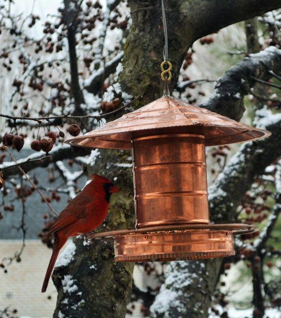 Handmade copper bird feeder for Unique homemade bird feeders